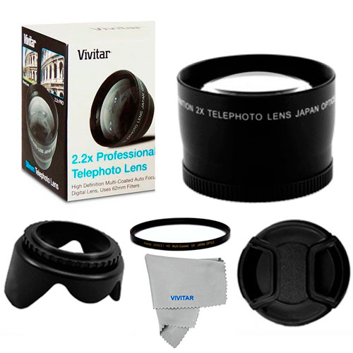 2X Tele Converter Lens, UV FILTER, Hood, Cap for Canon EOS Rebel 43 T3I T4 T4I T5