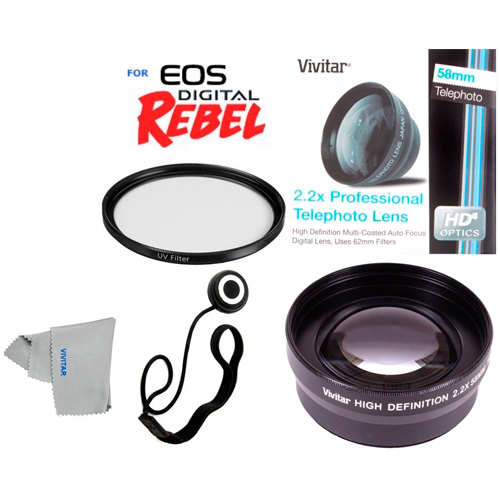 FOR_CANON 58MM_2X_Optical_Zoom_Lens,_UV_Filter_Kit_for_Canon_Rebel_EOS_T3I_T4I_T5I_T6I_SL1 First_offer_in_this_package_-_a_Vivitar_2.2x_HD_Telephoto_Zoom_Lens.  It_is_not_expensive_but_it_guarantees_the_excellent_quality_to_your_pictures._You_don't_have_to_waste_lot_of_money_for_a_good_product._This_additional_zoom_lens_can_improve_the_existing_one,_even_-_double_its_focal_length.  You_also_don't_need_any_adapter_-_it_fits_perfectly._It_can_produce_high_resolution_series_without_any_harm_on_quality_-_you_will_be_really_surprised._This_lens_has_autofocus_-_you_don't_need_to_waste_your_time_to_adjust_it_manually._Also,_it_combines_with_different_filters_without_any_problems_-_there_is_a_67mm_thread_especially_for_them._This_Telephoto_lens,_offered,_can_wake_your_imagination_up:_far_away_objects_will_be_closer_to_you_and_you_will_see_them_in_details_and_the_most_important_thing_is_that_you_will_be_able_to_make_clear_HD_photos_without_any_disturbance.