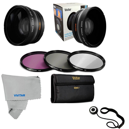 52MM Wide Angle Lens Macro, UV CPL FLD Filter Kit for Nikon D5200 D5300 D90 D80